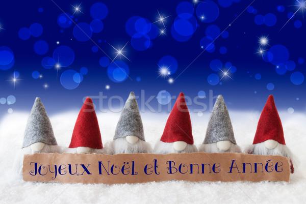 синий bokeh звезды Новый год Label французский Сток-фото © Nelosa