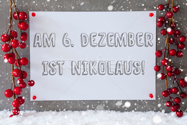 Label, Snowflakes, Christmas Decoration, Nikolaus Means Nicholas Day Stock photo © Nelosa