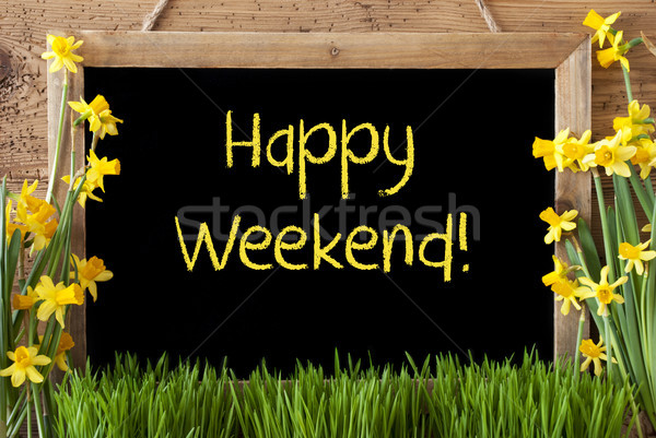 Spring Flower Narcissus, Chalkboard, Text Happy Weekend Stock photo © Nelosa