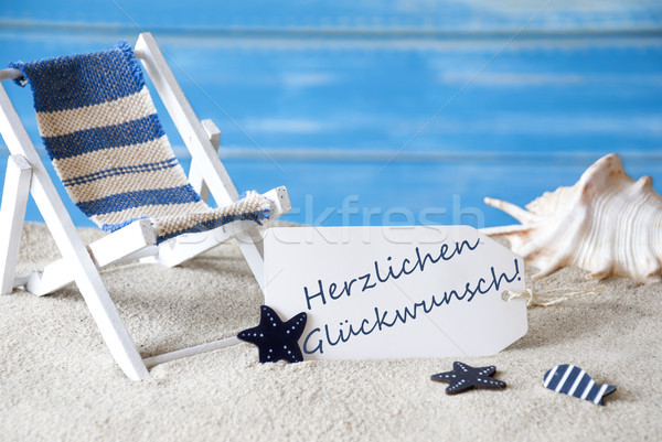 Summer Label With Deck Chair, Glueckwunsch Means Best Wishes Stock photo © Nelosa