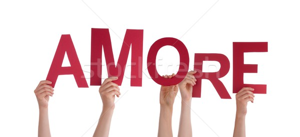 Hands Holding the Word Amore Stock photo © Nelosa