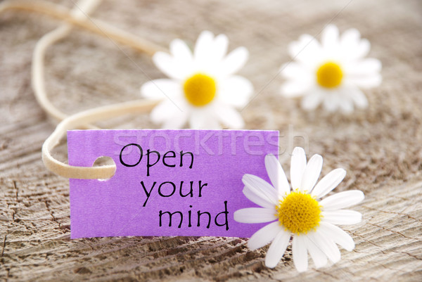 Purple Label With Life Quote Open Your Mind And Marguerite Blossomsl Stock photo © Nelosa
