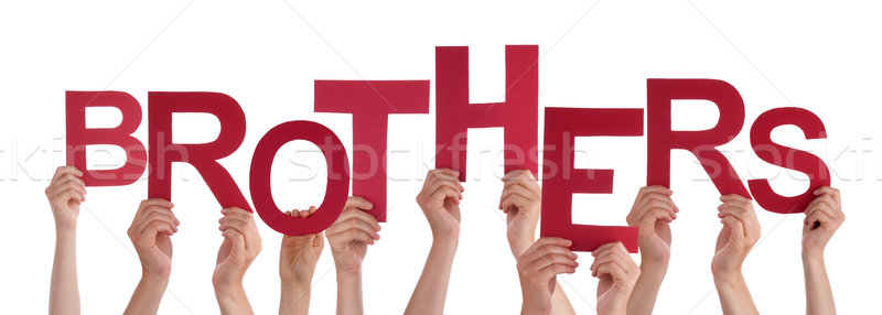 Many People Hands Holding Red Word Brothers Stock photo © Nelosa