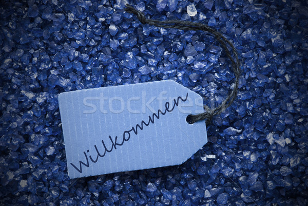 Purple Stones With Label Willkommen Means Welcome Stock photo © Nelosa