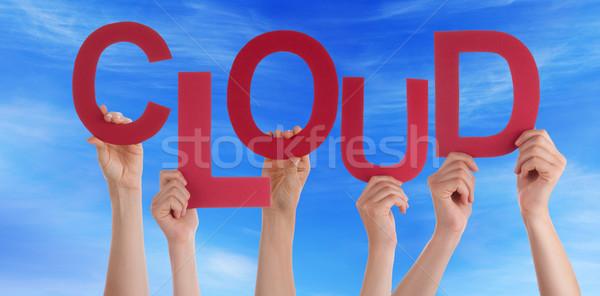 çok insanlar eller kırmızı kelime bulutu Stok fotoğraf © Nelosa