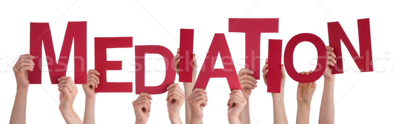 Many People Hands Holding Red Word Mediation  Stock photo © Nelosa
