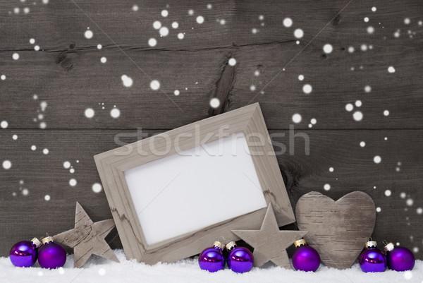 Gray Purple Christmas Decoration Text Merry Xmas, Snowflakes Stock photo © Nelosa