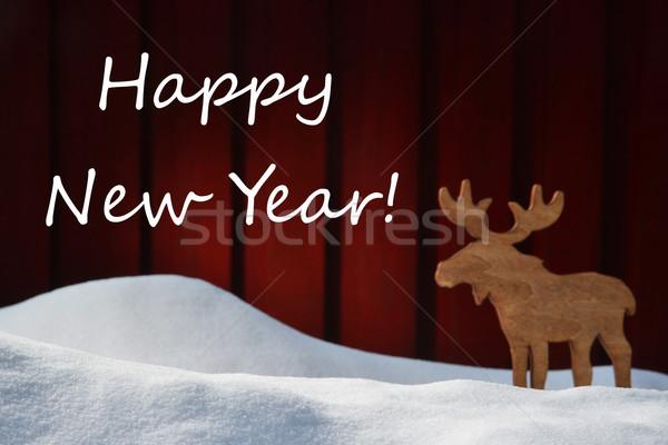 Karácsonyi üdvözlet boldog új évet hó jávorszarvas fehér angol Stock fotó © Nelosa