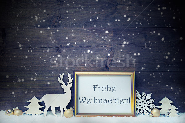 Vintage Card, Snowflakes, Frohe Weihnachten Mean Merry Christmas Stock photo © Nelosa