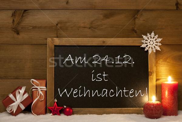 Festive Card, Blackboard, Snow, Weihachten Mean Christmas Stock photo © Nelosa