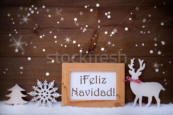 White Decoration On Snow, Feliz Navidad Means Merry Christmas Stock photo © Nelosa