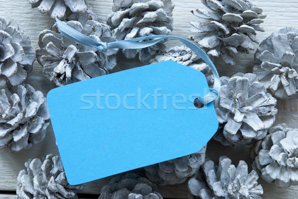 Luz azul etiqueta cópia espaço um branco Foto stock © Nelosa