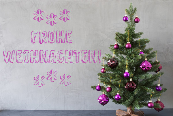 Tree, Cement Wall, Frohe Weihnachten Means Merry Christmas Stock photo © Nelosa