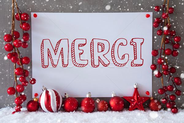 Label, Snowflakes, Christmas Balls, Merci Means Thank You Stock photo © Nelosa