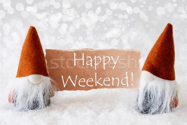 Bronze Gnomes With Card, Text Happy Weekend Stock photo © Nelosa
