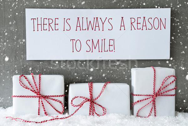 White Gift With Snowflakes, Quote Always Reason To Smile Stock photo © Nelosa