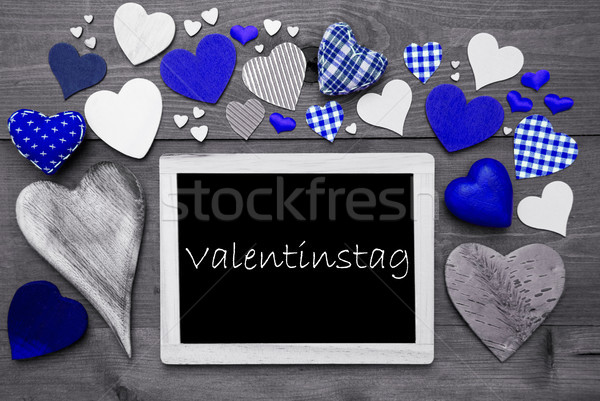 Chalkbord With Many Blue Hearts, Valentinstag Mean Valentines Day Stock photo © Nelosa
