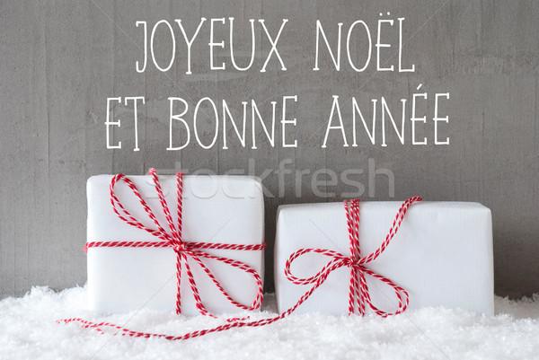 Stok fotoğraf: Iki · hediyeler · kar · happy · new · year · fransız · metin
