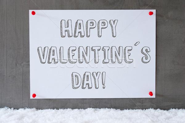 Címke cement fal hó boldog valentin nap Stock fotó © Nelosa
