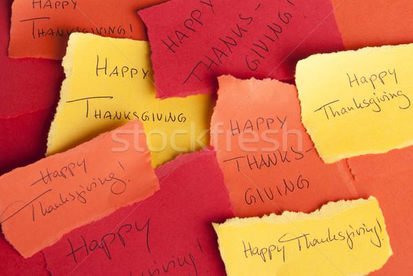 Memos with Happy Thanksgiving Stock photo © Nelosa