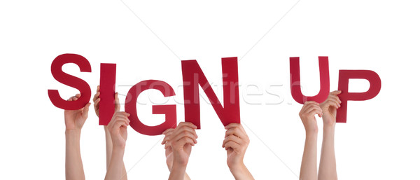 Hands Holding Sign Up Stock photo © Nelosa