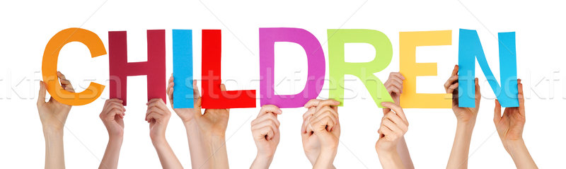 Stock photo: Many People Hands Holding Colorful Straight Word Children