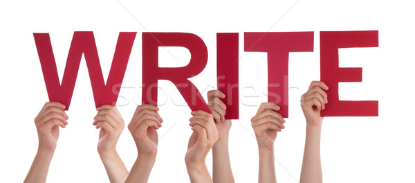 Many People Hands Holding Red Straight Word Write  Stock photo © Nelosa