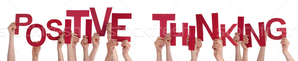 People Hands Holding Red Word Positive Thinking Stock photo © Nelosa