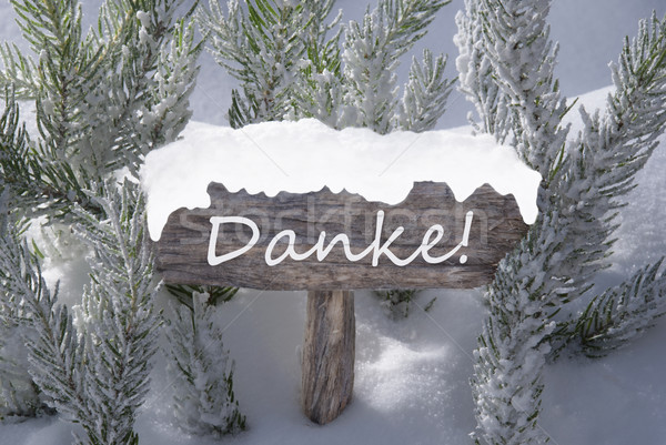 Christmas Sign Snow Fir Tree Danke Means Thank You Stock photo © Nelosa