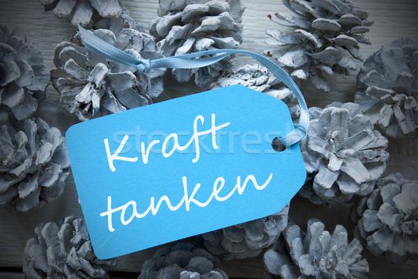 Blue Label On Fir Cones Kraft Tanke Means Building Strength Stock photo © Nelosa