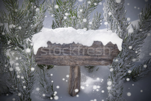 Christmas Sign Snowflakes Fir Tree And Copy Space Stock photo © Nelosa