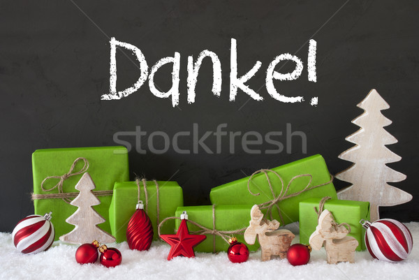 Stock photo: Christmas Decoration, Cement, Snow, Danke Means Thank You