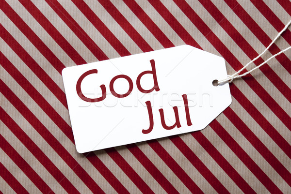 Label Rood inpakpapier god vrolijk christmas Stockfoto © Nelosa