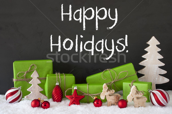 Stock photo: Christmas Decoration, Cement, Snow, Text Happy Holidays
