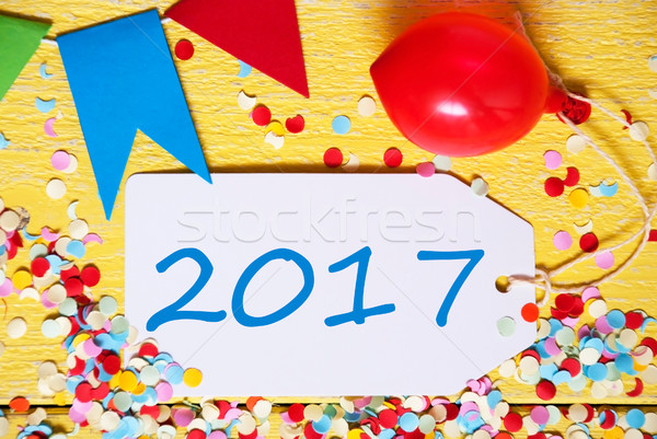 Party Label, Red Balloon, Text 2017 Stock photo © Nelosa
