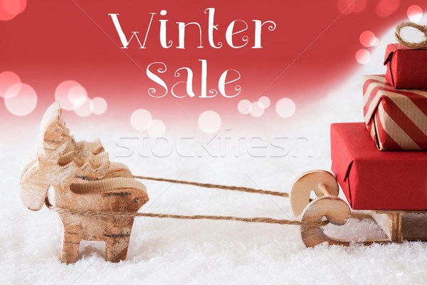 Reindeer With Sled, Red Background, Text Winter Sale Stock photo © Nelosa