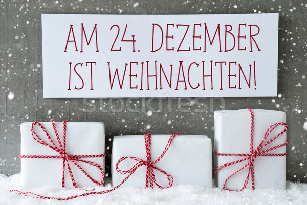 White Gift With Snowflakes, Weihnachten Means Christmas Stock photo © Nelosa