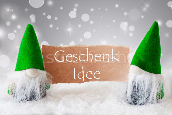 Green Gnomes With Snow, Geschenk Idee Means Gift Idea Stock photo © Nelosa