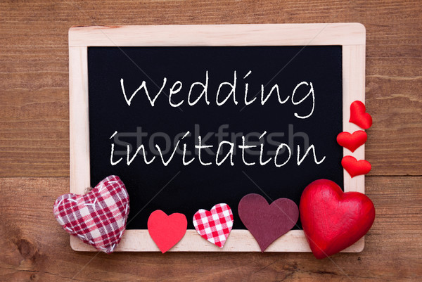 Stock photo: Chalkbord, Red Fabric Hearts, Text Wedding Invitation