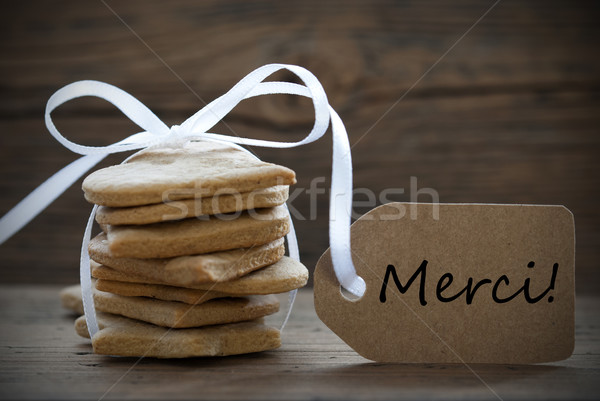 Ginger Bread Cookies with Merci Label Stock photo © Nelosa