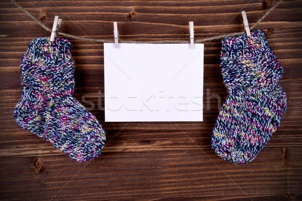 розовый Label ребенка носки копия пространства тег Сток-фото © Nelosa