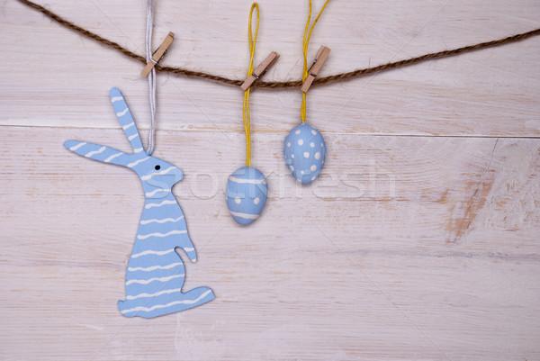 Blau Osterhase Ostereier hängen line ein Stock foto © Nelosa