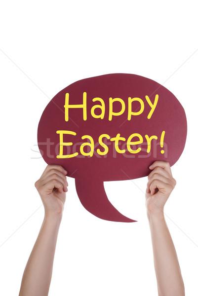 Piros szöveglufi kellemes húsvétot kettő kezek tart Stock fotó © Nelosa