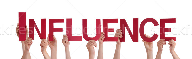 Many People Hands Holding Red Straight Word Influence  Stock photo © Nelosa