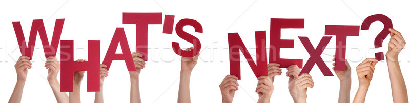 People Hands Holding Red Word Whats Next Stock photo © Nelosa