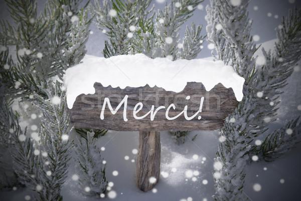 Christmas Sign Snowflakes Fir Tree Merci Mean Thanks Stock photo © Nelosa