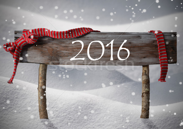Stock photo: Brown Christmas Sign 2016 Snow, Red Ribbon, Snowflakes