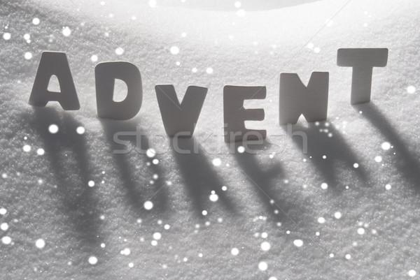 White Word Advent Means Christmas Time On Snow, Snowflakes Stock photo © Nelosa