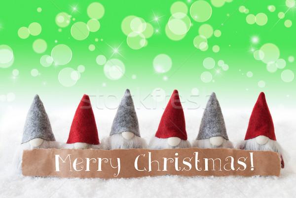 Gnomes, Green Background, Bokeh, Stars, Text Merry Christmas Stock photo © Nelosa