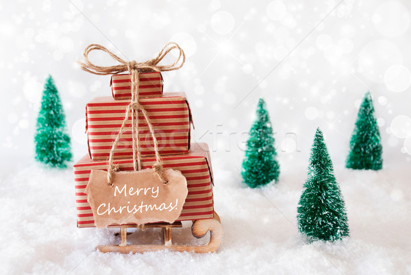 Stockfoto: Slee · sneeuw · vrolijk · christmas · geschenken · presenteert